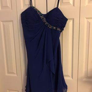 Royal blue dress with scarf